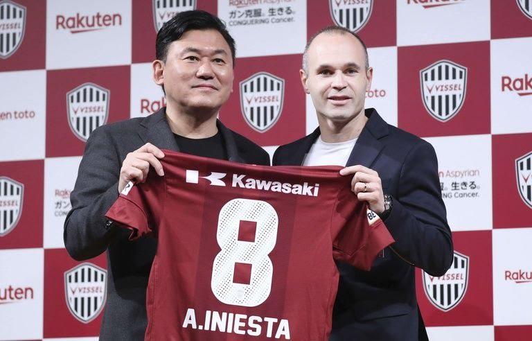 Andres Iniesta lors de sa présentation au club du Vissel Kobe, au Japon, le 24 mai 2018.